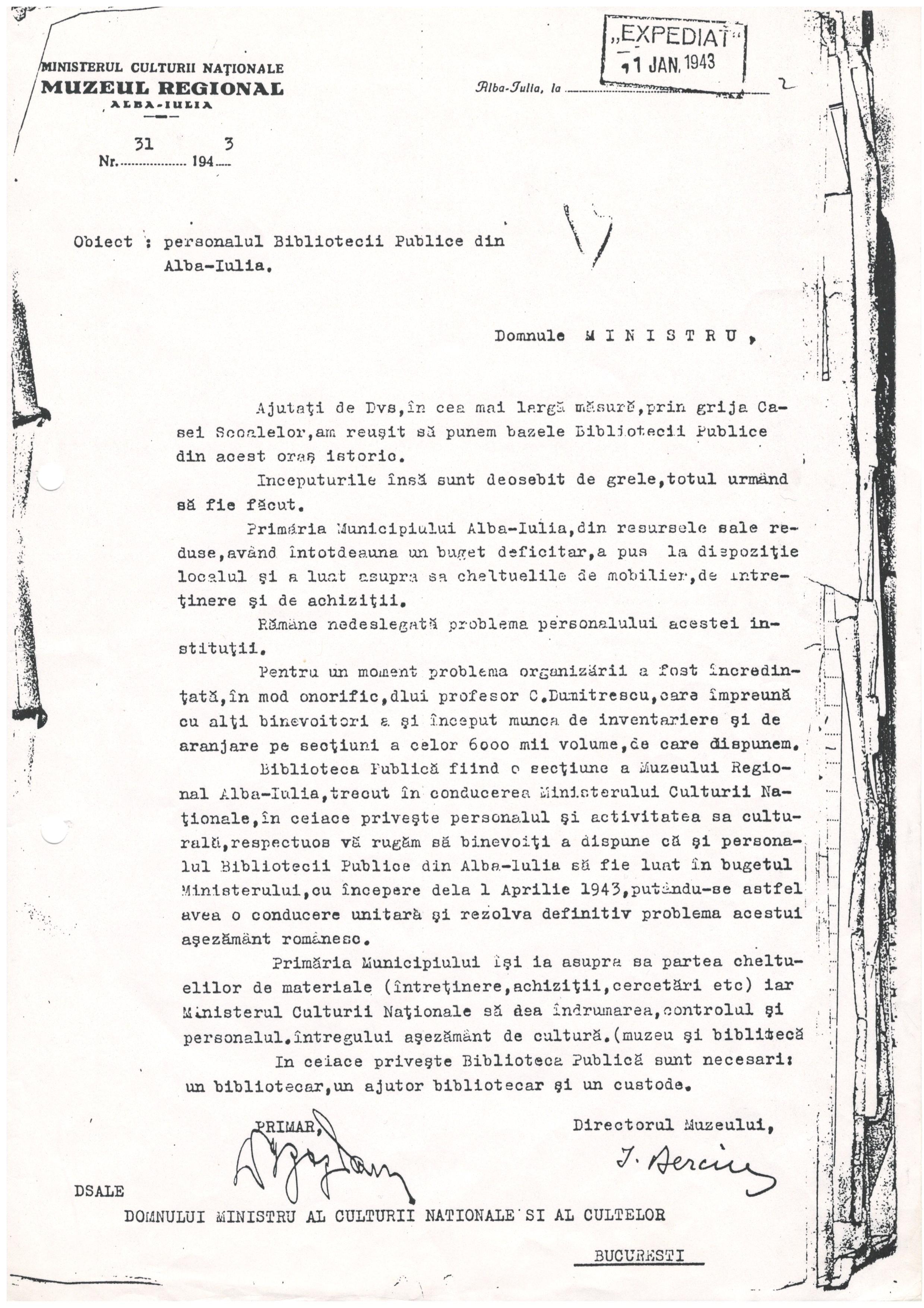 1 Adresa catre Ministerul Culturii National din 1 ianuarie 1943